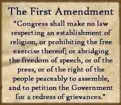 Bill of Rights first amendment